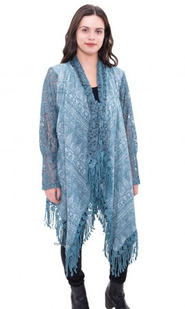 Lydia Ladies Long Lace Sleeve Crochet Open Cardigan In Blue