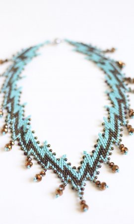Padma Hand Beaded Necklace With Magnet Closure Dark Gold