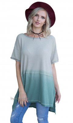 Coulee Super Soft Hi Low Loose Fit Tunic Dip Dye Olive Easel Top