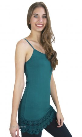 Kizzy Shirt Extender Dress Cami Crochet Hemline Teal Monoreno