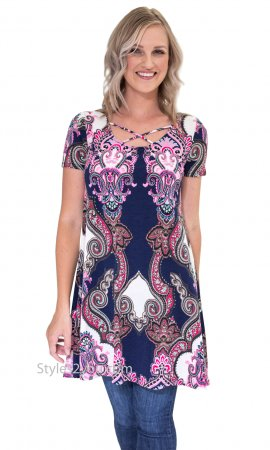 Brookside Honeyme Ladies Short Sleeve A Line Tunic Dress In Navy