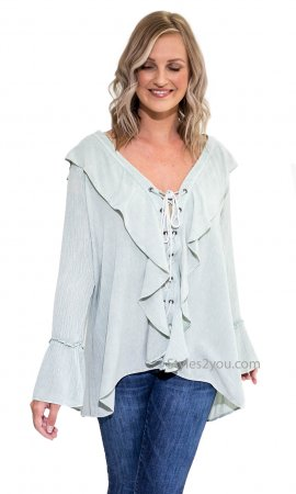 Jadel Long Sleeve Loose Fit Lace Up V-Neck Ruffle Blouse Sage