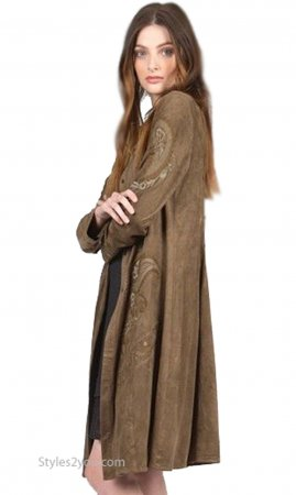Austin Long Sleeve Embroidered Faux Suede Duster Coat In Olive