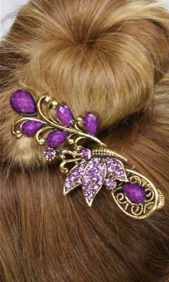 Ladies Vintage Butterfly Rhinestone Hair Clip In Purple