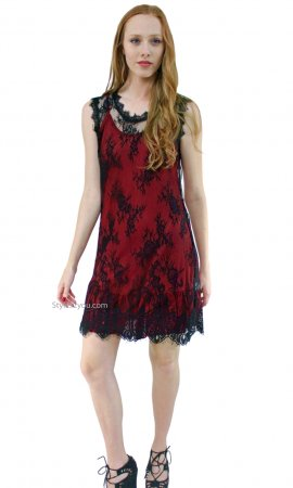 SILK Ruffle Slip Shirt Dress Extender Dark Red Pretty Angel Tops