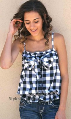 Gingham Top In Black & White