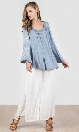 Abi Loose & Flowy Embroidered Long Bell Sleeve Top In Blue