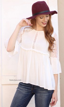 Cadence Chic Lace Blouse In Off White Sacred Threads Clothing