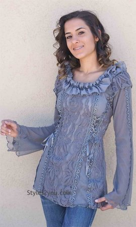 American Vintage Lace Blouse Steampunk Victorian Top In Brown