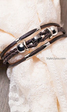 Alameda Braided Leather Beaded Bracelet With Anchor Closure