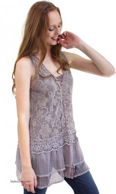 Lady Chantal Vintage Victorian Lace Top, Two Pieces In Mauve