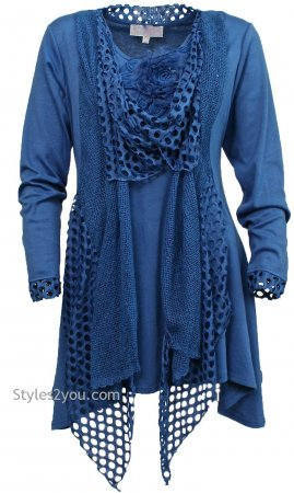 Memphis Modern Vintage Layered Top Tunic In Dark Blue