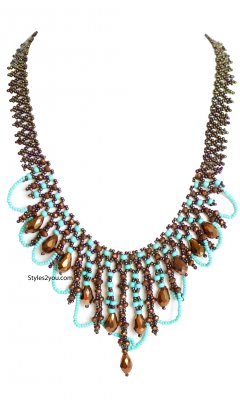 Cleapatra Beaded Necklace With Magnetic Clasp In Turquoise