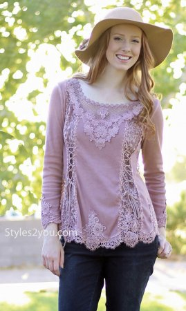 Cholera Vintage Victorian Lace Up Blouse Mauve Pretty Angel Tops