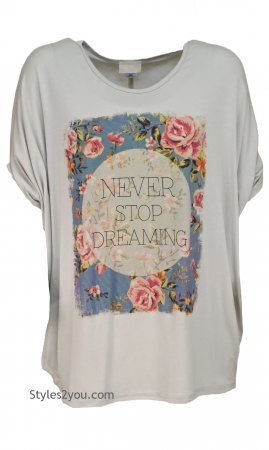 "Jerry ""Never Stop Dreaming"" Tee In Khaki"