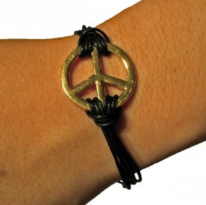 Gold and Black Peace Bracelet For Women
