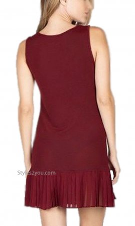 Brookwood Shirt Extender Tank Dress With Pleated Skirt Burgundy