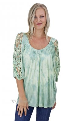 Evie Ladies Rayon Blouse Crochet Inset Celery Impulse California
