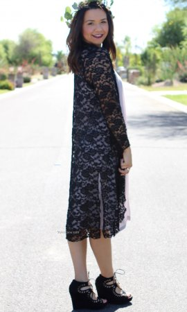 Connie Victorian Modern Vintage Lace Cardigan Duster In Black