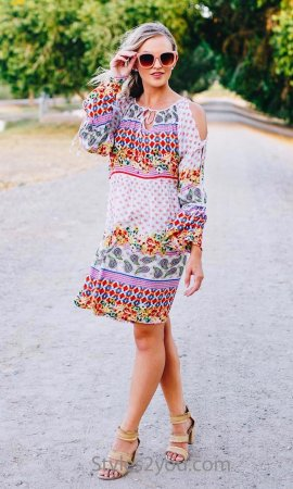 Decatur Oversize Long Sleeve Fun Flirty Lightweight Boho Dress