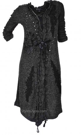 Paulette Ladies Victorian Sweater Duster Cardigan In Black