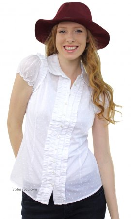 Poly Ladies Fitted Vintage Ruffle Blouse In White
