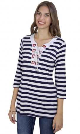 Eloisa Ladies Nautical Top In Navy & White Vecceli Italy Clothes