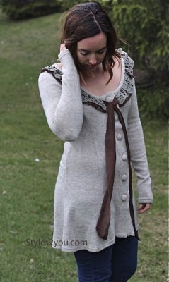 Lydia Cardigan Tunic Sweater Dress Light Brown Sacred Threads