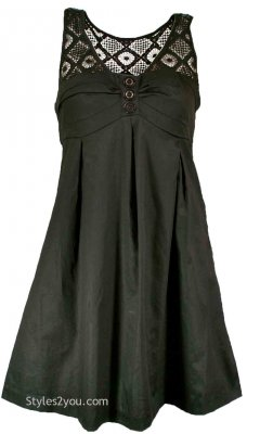 Black Maeve Dress With Lace Neckline