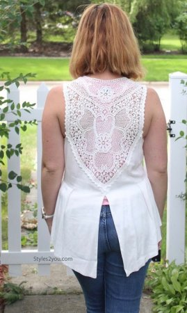 Charlotte Ladies Vintage Lace Vest Off White Fantazia Clothing