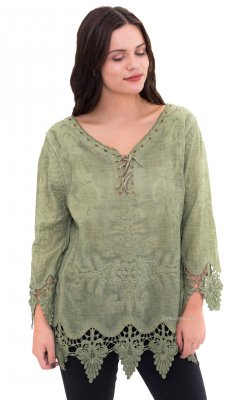 Alexa Ladies Lace Up & Crochet 3/4 Sleeve Blouse In Green