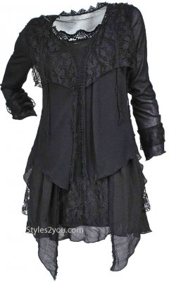 Rain Ladies Retro Layered Vintage Victorian Blouse In Black Tops