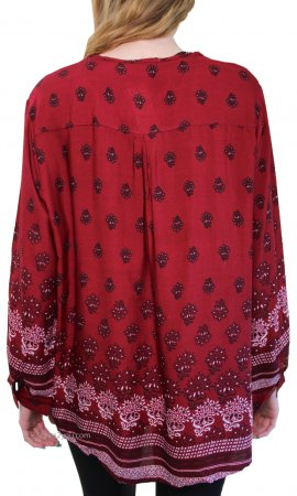 Christina Handkerchief Curvy Size Bohemian Top In Burgundy