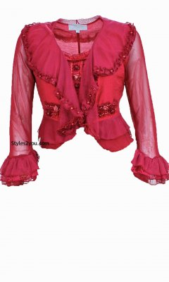 Pearl Angel Rose Ladies Vintage Victorian Jacket In Dark Red