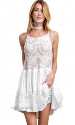 Dolly Embroidered Lace Top Camisole Ruffle Skirt Extender White
