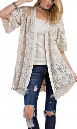 Mink Embroidered Lace Open Cardigan In Natural Easel Cardigan
