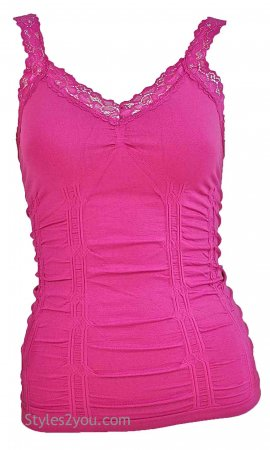 Styles2you Clothing Corset & Lace Undershirt In Fuchsia