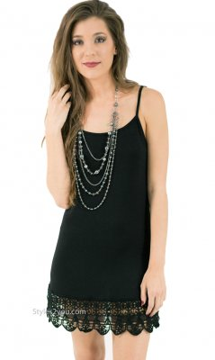 Kizzy Shirt Extender Dress Cami Crochet Hemline Black Monoreno