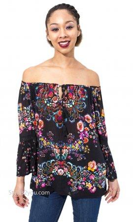 Elgin On or Off Shoulder Rayon Crepe Georgette Blouse In Black