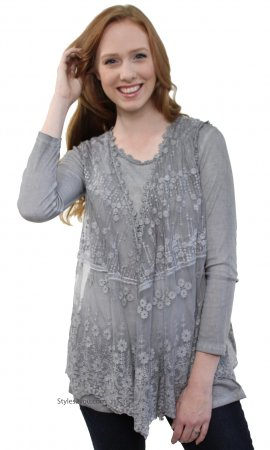 Moss Two Piece Modern Vintage Lace Vest & Undershirt In Gray