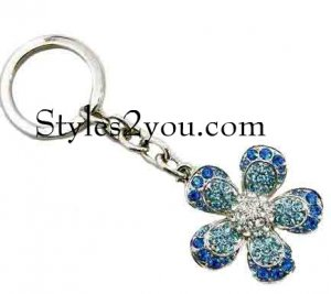 Flower Keychain With Swarovski Crystals In Blues