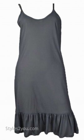 Slip With Ruffle Shirt Extender Dress Extender In Gray