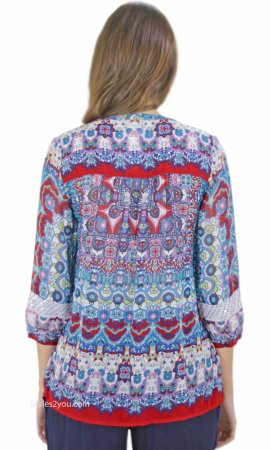 Monarch Peasant Top Hand Sewn Sequins Embroidery Bila Blouses