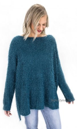 Champaign Ladies Oversized Loose Fitting Sweater Tunic In Teal