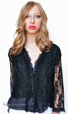 Keltie Lace Top Cardigan In Black