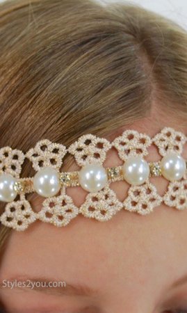 Lace Rhinestone And Faux Pearl Headband