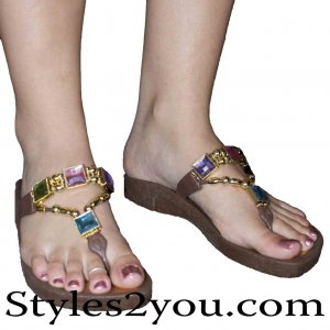 Grandco Sandals Pastel Crystal Thong In Brown
