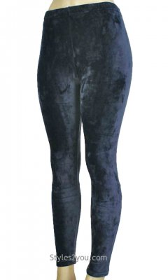 Regina Crushed Velvet Legging In Navy Blue