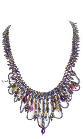 Cleapatra Beaded Necklace With Magnetic Clasp In Jewel Tones