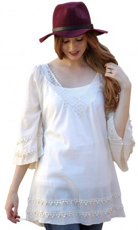 Breeze Ladies Oversize Hippy Bohemian Top Cream Sacred Threads